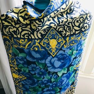 Givenchy Floral Scarf. 100% Silk. Gold & Blue.